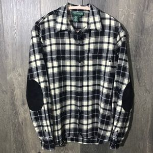 Ralph Lauren 100% Wool Flannel With Leather Elbows